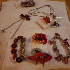 Red hat society vintage jewelry